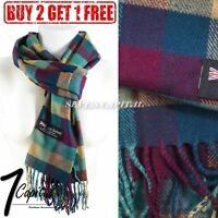 Women Winter Warm Soft 100% Cashmere Scarf Scotland Made High Quality Plaid Wool