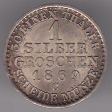 Reino de Prusia (Alemania) 1 Silbergroschen 1869 C moneda de plata (.222)