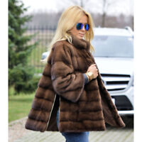 Top Quality Women Natural Full Pelt Real Mink Fur Coat Jacket Outwear Overcoat