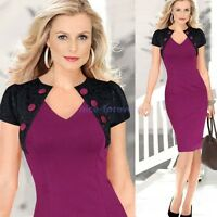 Vintage Womens Elegant Colorblock Lace Cocktail Party Evening Bodycon Dress N798