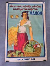 affiche ancienne 120x80 ENGRAIS MANON à ROBION Vaucluse viano moulot Marseille