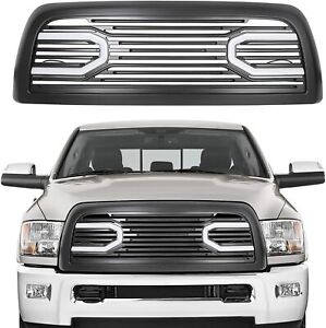 2010-2018 DODGE RAM 2500 3500 TRUCK BADGELESS BIG HORN GRILLE Black with Lights
