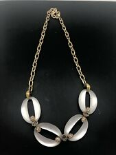 Alexis Bittar Lucite Crystal Link Necklace Goldtone Rare