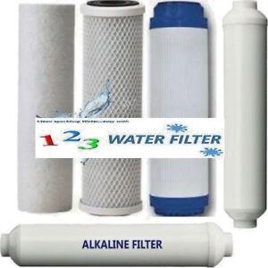 RO Replacement Water Filter Set~Sediment~GAC~CTO~ALKALINE~POST CARBON 5pc