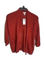 Chicos Women's Cardigan Sweater Open Front Knit Solid Red Size 1 Medium NWT