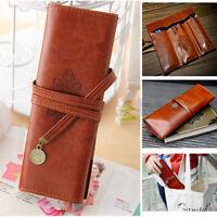 New Retro Pencil Pen Case Cosmetic Pouch Pocket Brush Holder Makeup Bag QW
