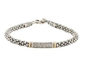 LAGOS LUX DIAMOND Silver and 18K Gold CAVIAR BRACELET sz. Large $1695.00