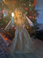 Vintage Animated Christmas Caroler Angel Candle Light Motionette Sleepy Eyes