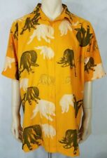 Outkast Clothing Co. yellow hands graphic print button front shirt mens 2XL