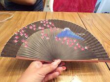 Vtg Folding Fan Black With Flowers