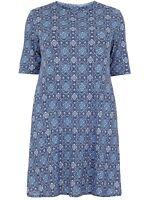 Amy K ladies tunic dress plus size 18-26 blue tile print short sleeve