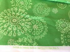 BTY DELILAH Fabric JOHNNY KARWAN Green w/silver glitter snowflakes Kaleidoscope