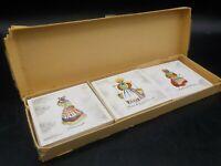 5 Vintage Danish Modern Ceramic Coasters Denmark Souvenir Tiles Folk Art w/Box