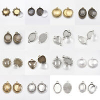 10 Sets Tibetan Style Alloy Pendant Glass Cabochon Settings For Jewelry Making