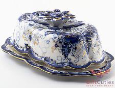 Gzhel Porcelain butter dish Маслёнка server plate holder Hand-painted gold blue