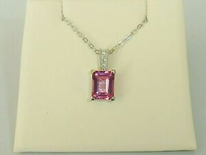 Ladies 950 Solid Platinum 1.5 Carat Pink Topaz & Diamond Necklace And Pendant