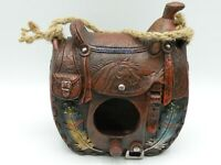 Western Saddle Birdhouse with Feather Motif Hand Painted  New