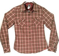 The North Face Womens Size Medium Red Brown Plaid Long Sleeve Button Up Shirt