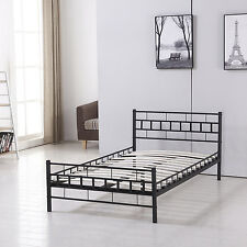 Twin Size Wood Slats Metal Bed Frame Platform Mattress Foundation Bedroom Black