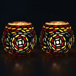 Colourful Beads Decorated Tealight Holder Candle Light Holder- Set Of 2