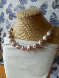 Pretty floral flowers porcelain ceramic bead necklace with glass love beads