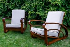 Pair of Antique French Art Deco Bentwood Acajou Lounge Chairs