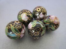 Black Cloisonne Round 16mm Beads 5pcs