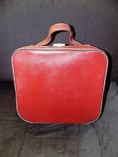 vintage faux leather oxblood red vanity case 60s 70s