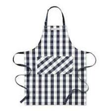 Kitchen Adult Adjustable Oven Mitt Bib Apron Plaid Blue Check Chef Cook Set Of 2