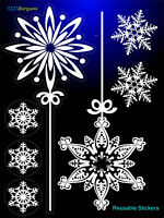 CHRISTMAS STICKERS DECAL 7 SNOWFLAKES  SELF-CLING REUSABLE WINDOW DECORATIONS +