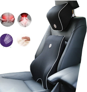 Car Lumbar Cushion Seat Support Back and Neck Pillow Memory Foam *Pain Relief*