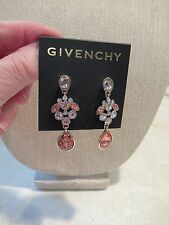 Nwt Givenchy Peach Tone & Clear Crystal Gold Tone Pierced Hanging Earrings