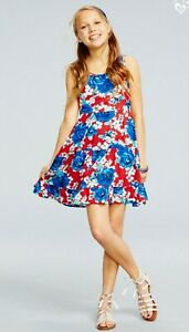NWT Justice 10 Patriotic Fit Flare Floral Dress Red/White/Blue