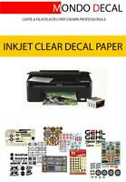 CARTA TRASPARENTE INKJET PER DECALCOMANIE (WATERSLIDE DECAL PAPER): 12 FOGLI A4