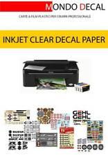 CARTA TRASPARENTE INKJET PER DECALCOMANIE (WATERSLIDE DECAL PAPER): 12 FOGLI A4