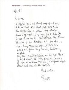 "ELMORE LEONARD Handwritten SIGNED 1997 Letter re: ""Cuba Libre"""