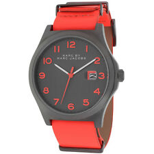 BRAND NEW MARC JACOBS MBM5060 JIMMY BRIGHT RED LEATHER GUNMETAL CASE MEN'S WATCH