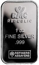 Republic Metals Corporation 1 Troy Oz .999 Fine Silver Bar SKU31525
