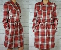 NEXT NEW TAGGED £40 LADIES RED CHECK SOFT TIE SHIRT DRESS IN 2 LENGTHS 571