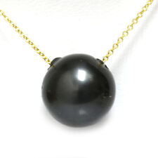 Tahitian Pearl Necklace / Pendant 14mm Black 14k Gold Adjustable Chain