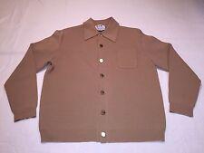 *Vintage LeRoy Knitwear LS 100% Virgin Wool Cardigan Sweater Tan Large