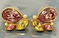 Vintage Swarovski Yellow Purple Gold tone Pierced Earrings
