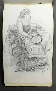 [Original Drawings] 19th-Century Unsigned Sketch Pad Dated Dec. 1882 - July 1883