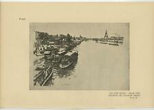 ANTIQUE SEINE RIVER PARIS FRANCE BARGE TUG BOAT EIFFEL TOWER EUGENE BEJOT PRINT
