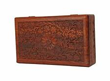 Wooden Jewellery Box Organiser Multipurpose Handcrafted with Floral Carvings