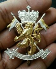 THE SCOTTISH YEOMANRY HALLMARKED SILVER BADGE WITH LION GLAG & CROWN