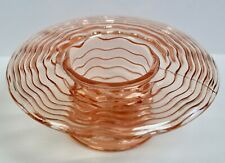 "Pink Bagley Glass Posy Bowl, ""Elf"" Pattern, 1930's"