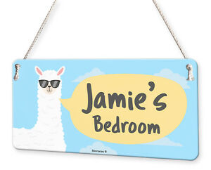 Llama Alpaca Personalised Childs Bedroom Door Sign Name Plaque