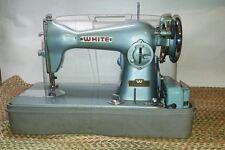Vintage 50's 60' s White Metallic Green Sewing Machine , Case Portable