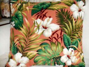 Hawaiian 100% Cotton Barkcloth Fabric Pillow SLIPCOVER ~Hibiscus Garden-Coral~